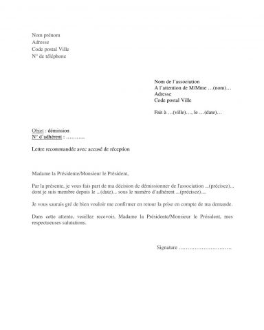 Exemple lettre démission membre association