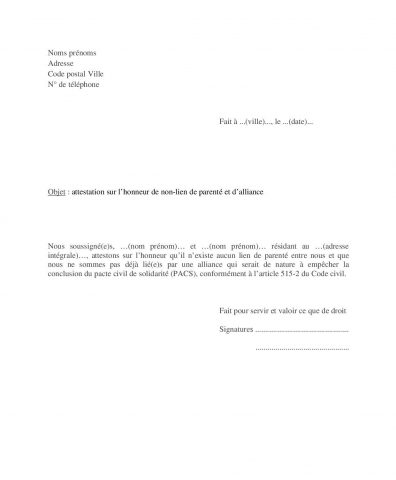 Modèle attestation sur honneur non-lien parenté alliance