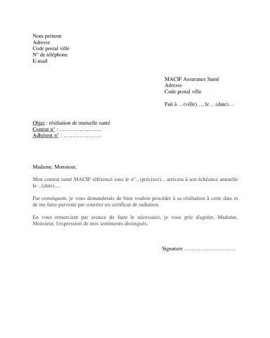 Modèle lettre pour résilier mutuelle santé MACIF