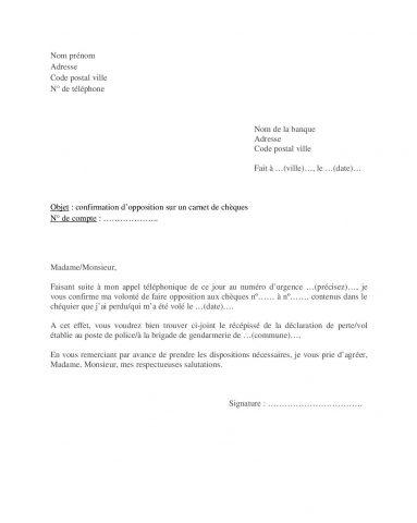 Modèle lettre pour faire opposition carnet chèques perdu volé