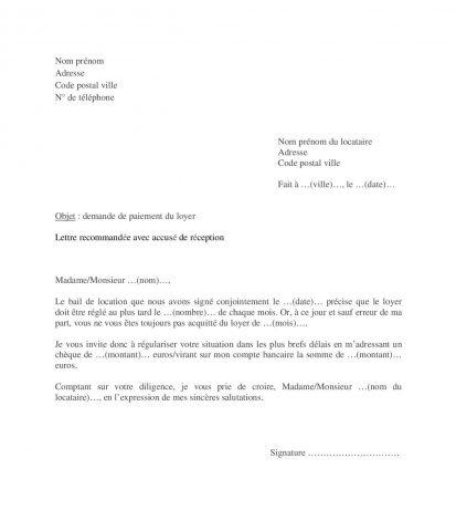 Modèle lettre pour réclamer locataire paiement loyer
