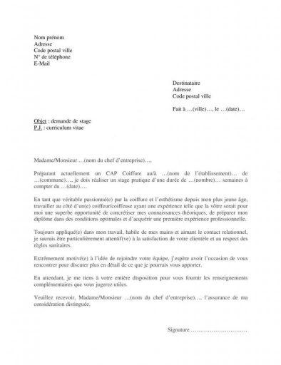 Exemple lettre motivation pour stage CAP Coiffure