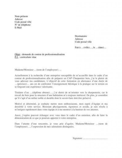Lettre motivation CAP Charpentier contrat professionnalisation