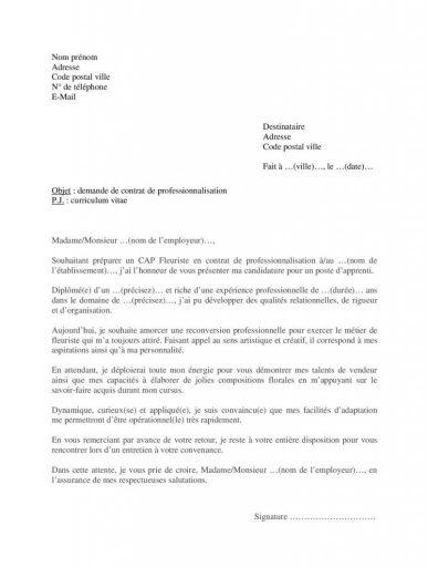 Lettre motivation CAP Fleuriste contrat professionnalisation