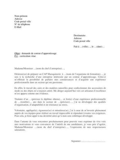 Lettre motivation pour CAP Maroquinerie contrat apprentissage